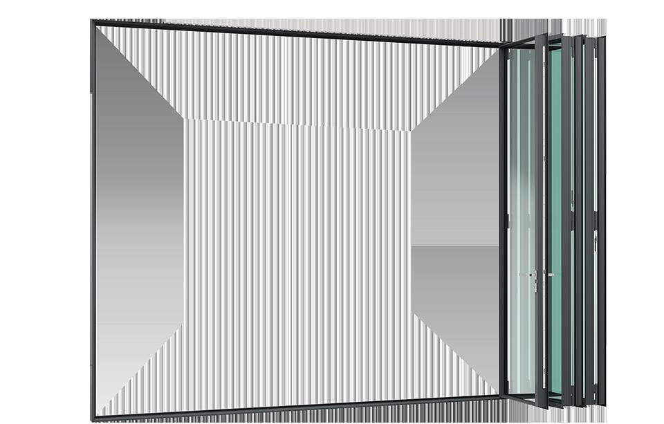 3d render MHB Steel folding door completely opened