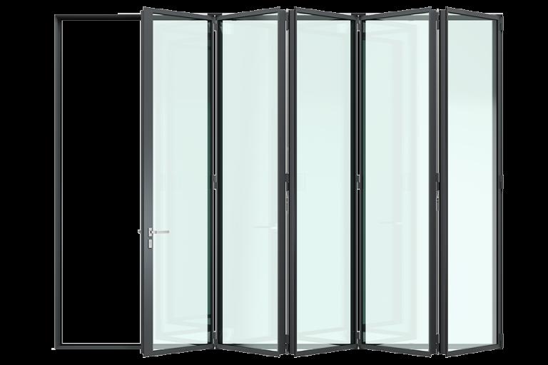 3d render MHB Steel folding door three quarters closed