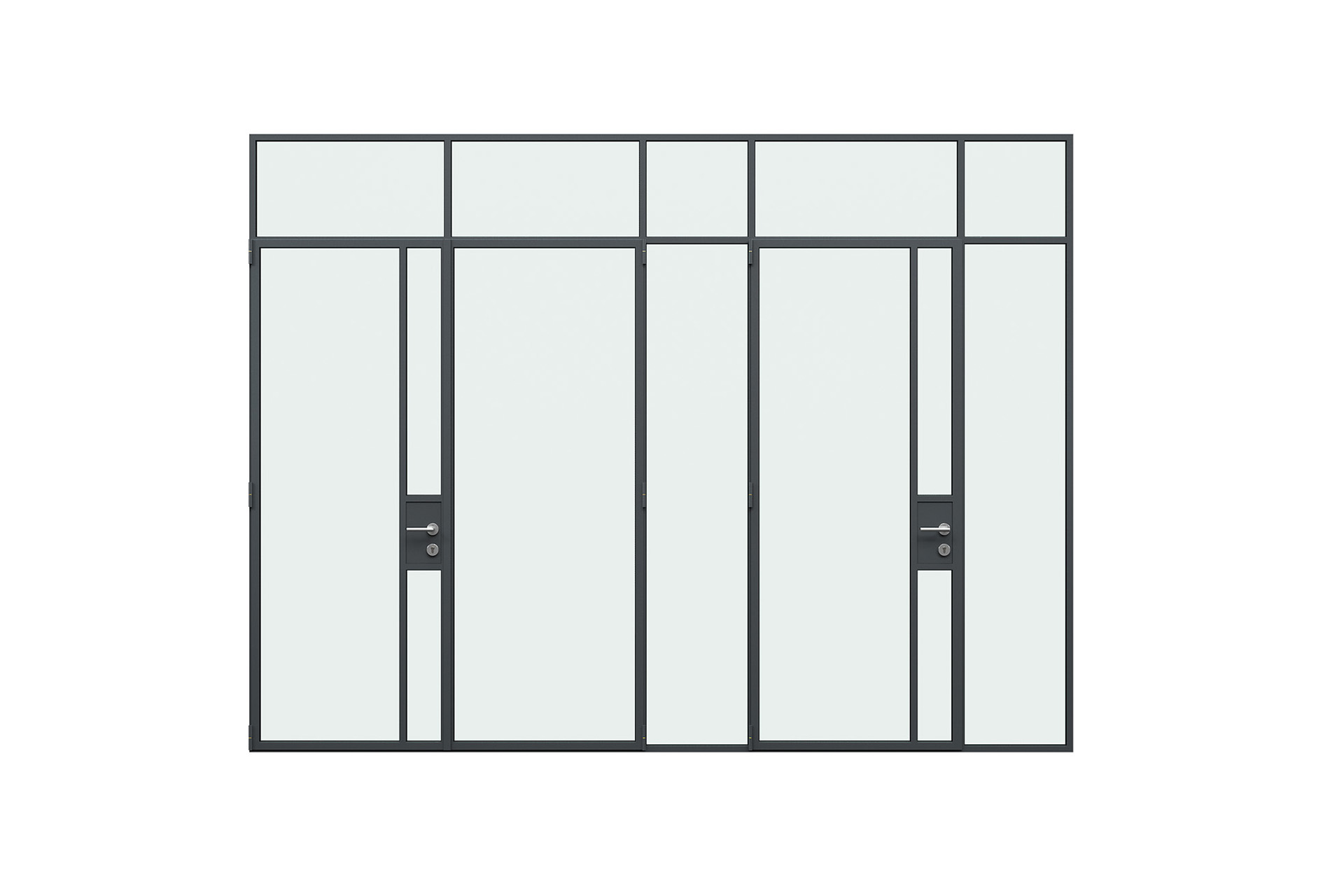 3d rendering front view of MHB steel lock case doors