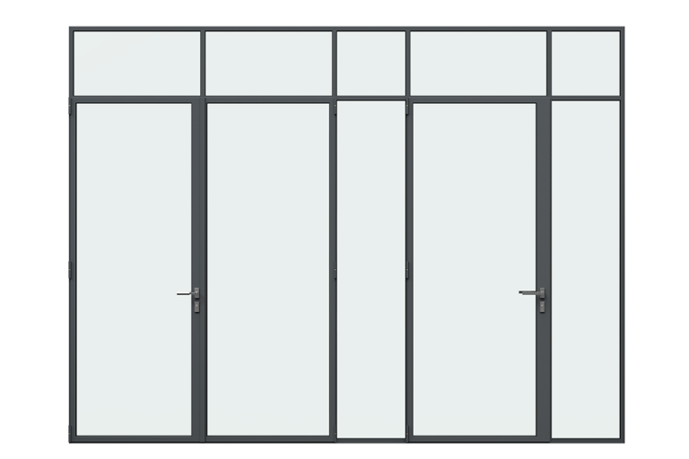 3d rendering front view of MHB steel lock mullion doors
