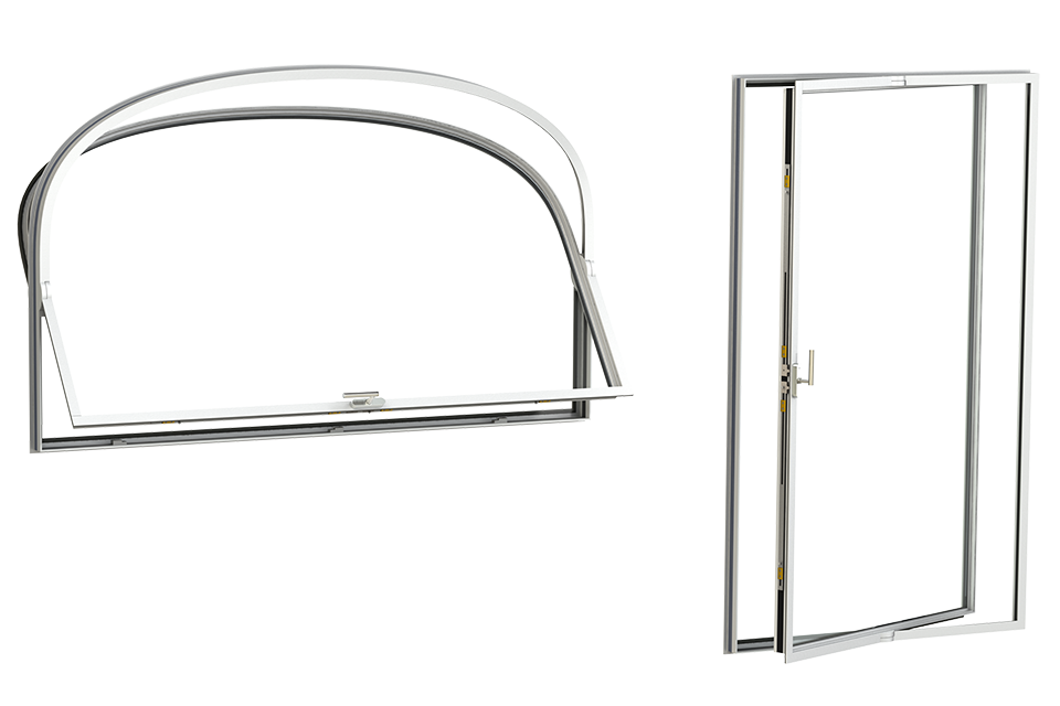 3d rendering of the curved MHB pivot windows and doors
