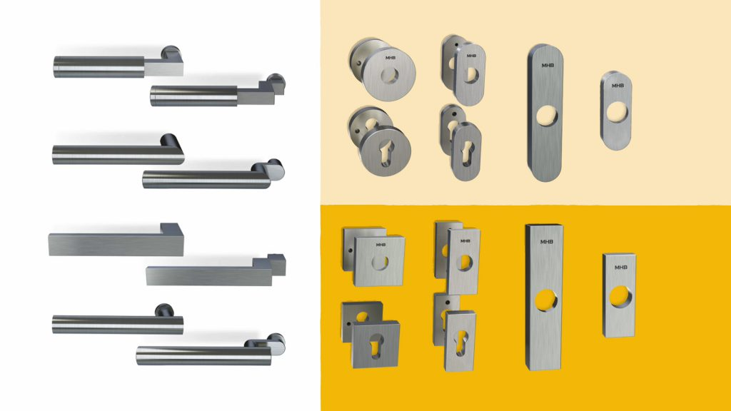 3d rendering overview of all MHB steel handles and escutcheons