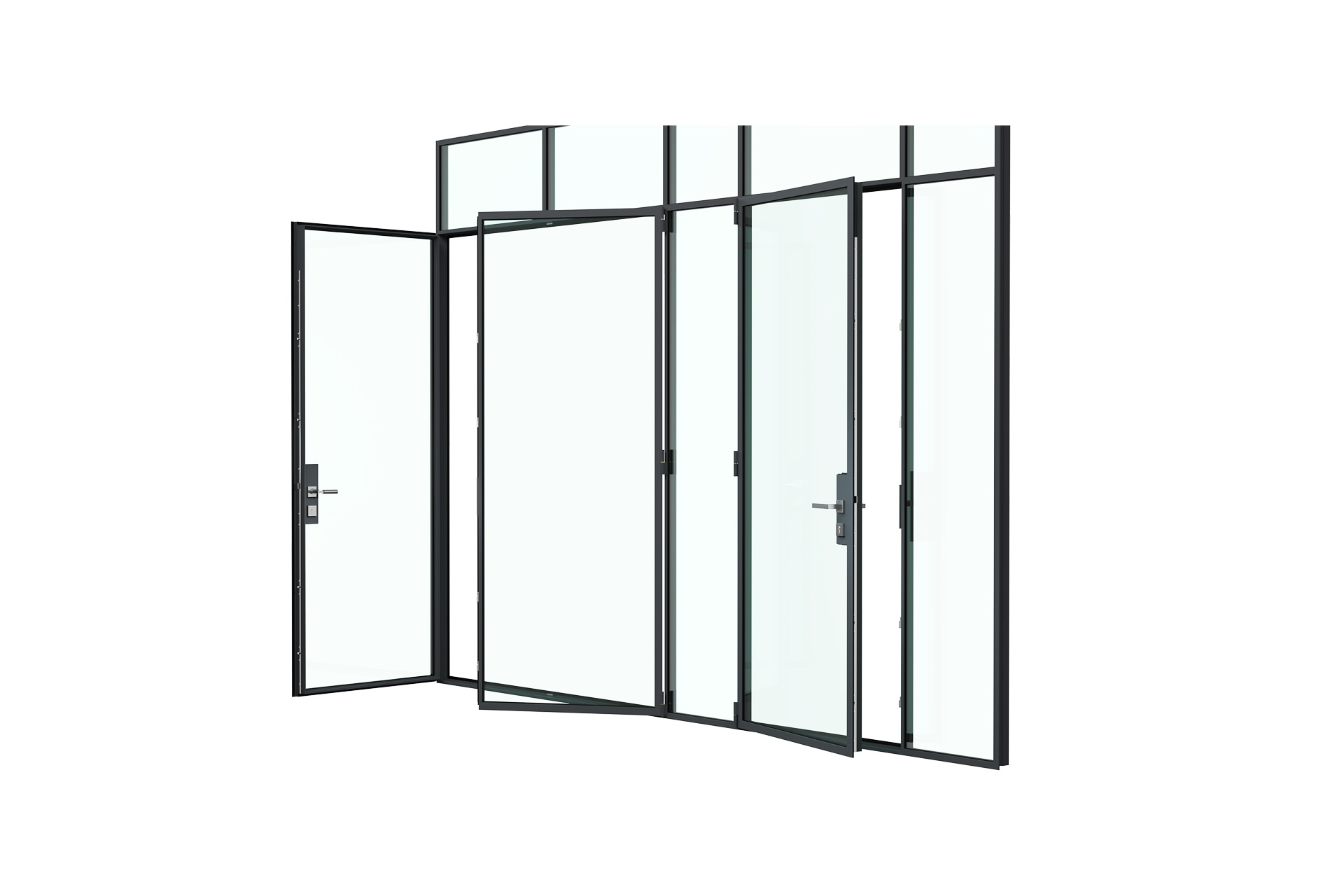 3d rendering side view of MHB steel Floating lock case doors