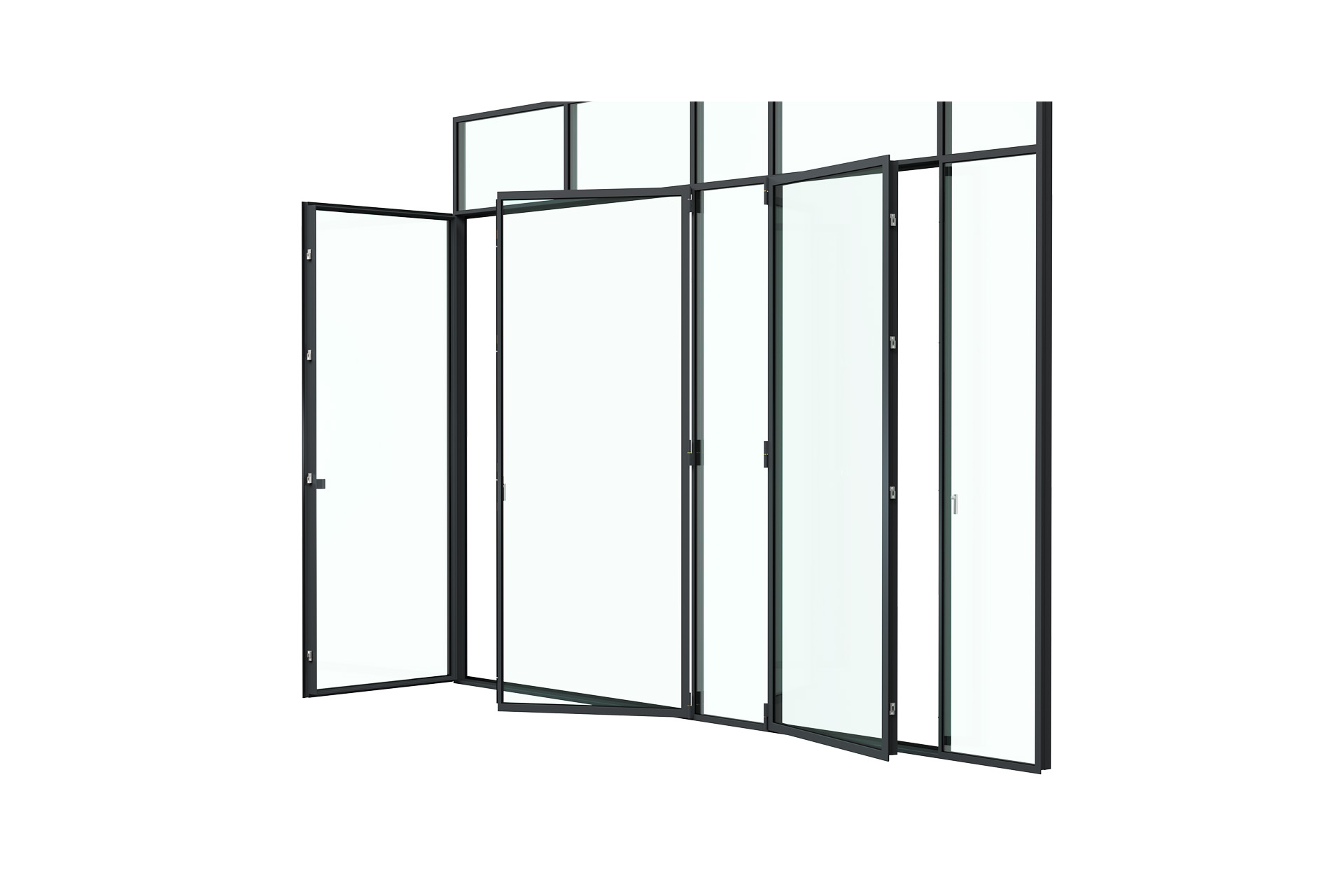 3d rendering side view of MHB steel French doors