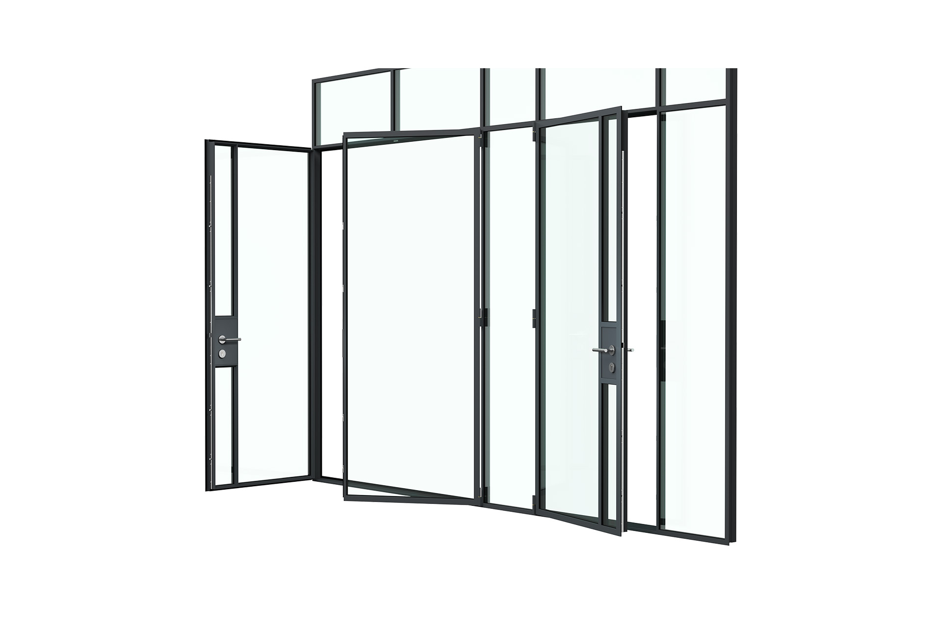 3d rendering side view of MHB steel lock case doors