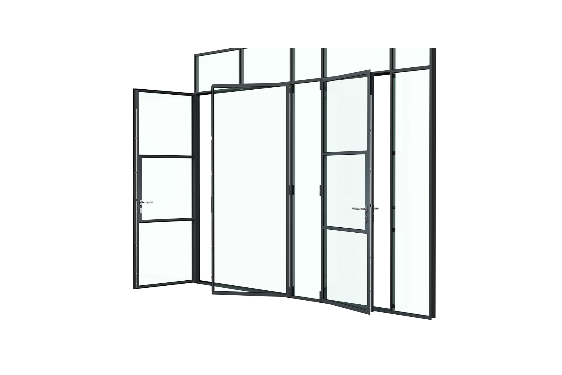 3d rendering side view of MHB steel partial lock mullion doors