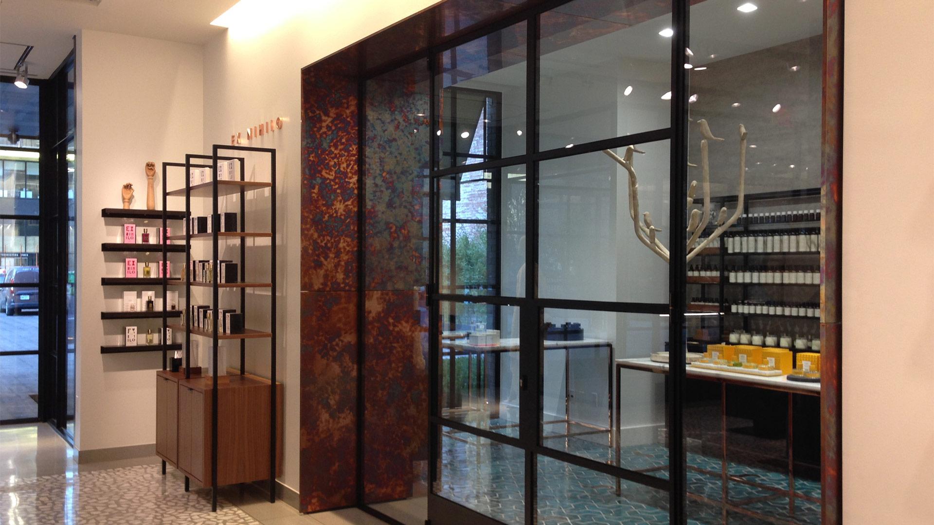 Steel glazed doors for a shop