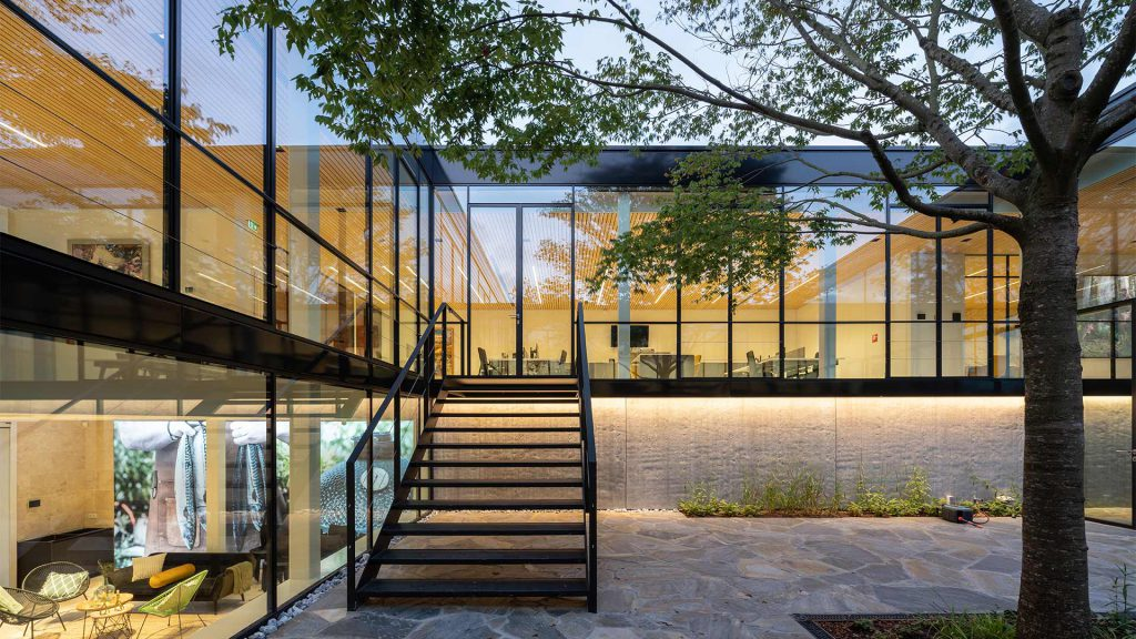 A building with glass walls and a tree