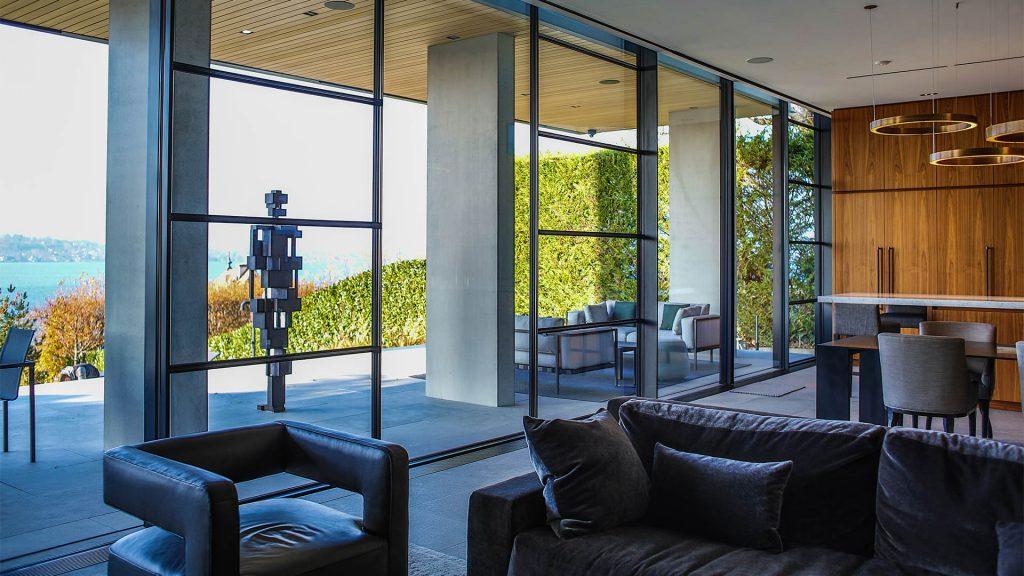 Steel glazed walls in dining room