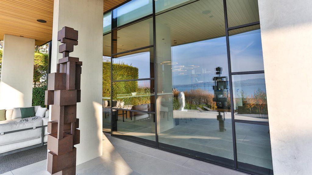 Steel glazed doors and windows outside