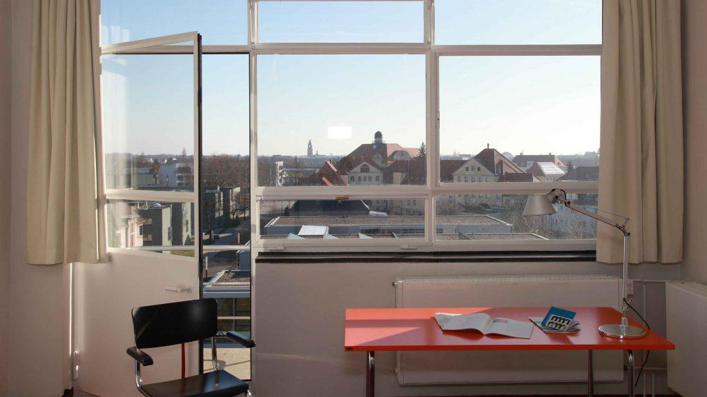 Bauhaus Dessau Atelier building with steel glazed windows in a room