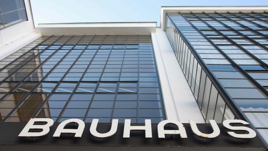 Bauhaus Dessau Atelier building with steel beautiful windows and the logo