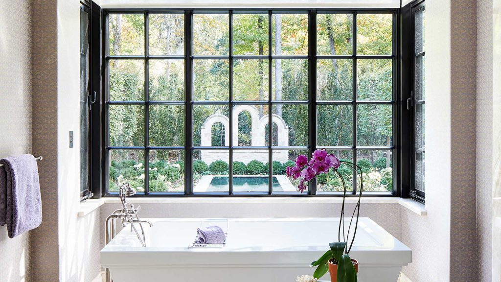 Bathroom with steel glazed window