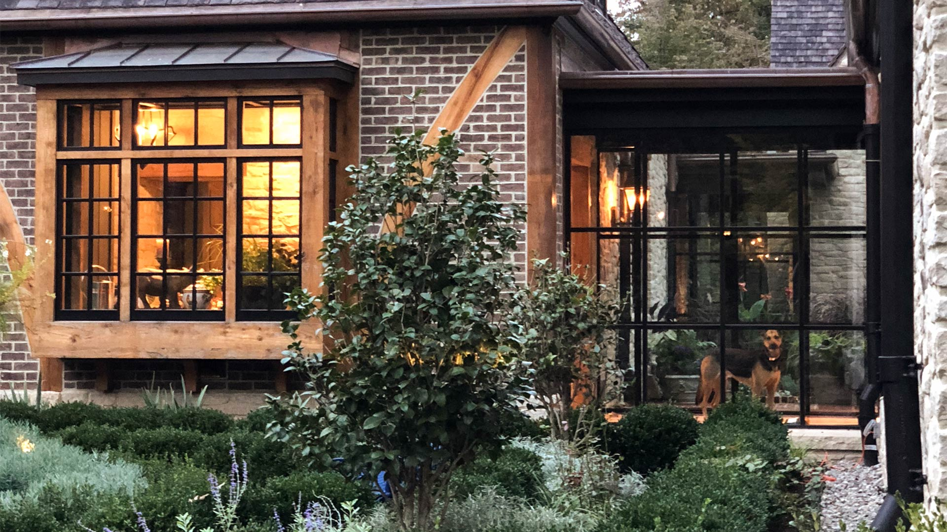 An American house with glazed steel windows and doors