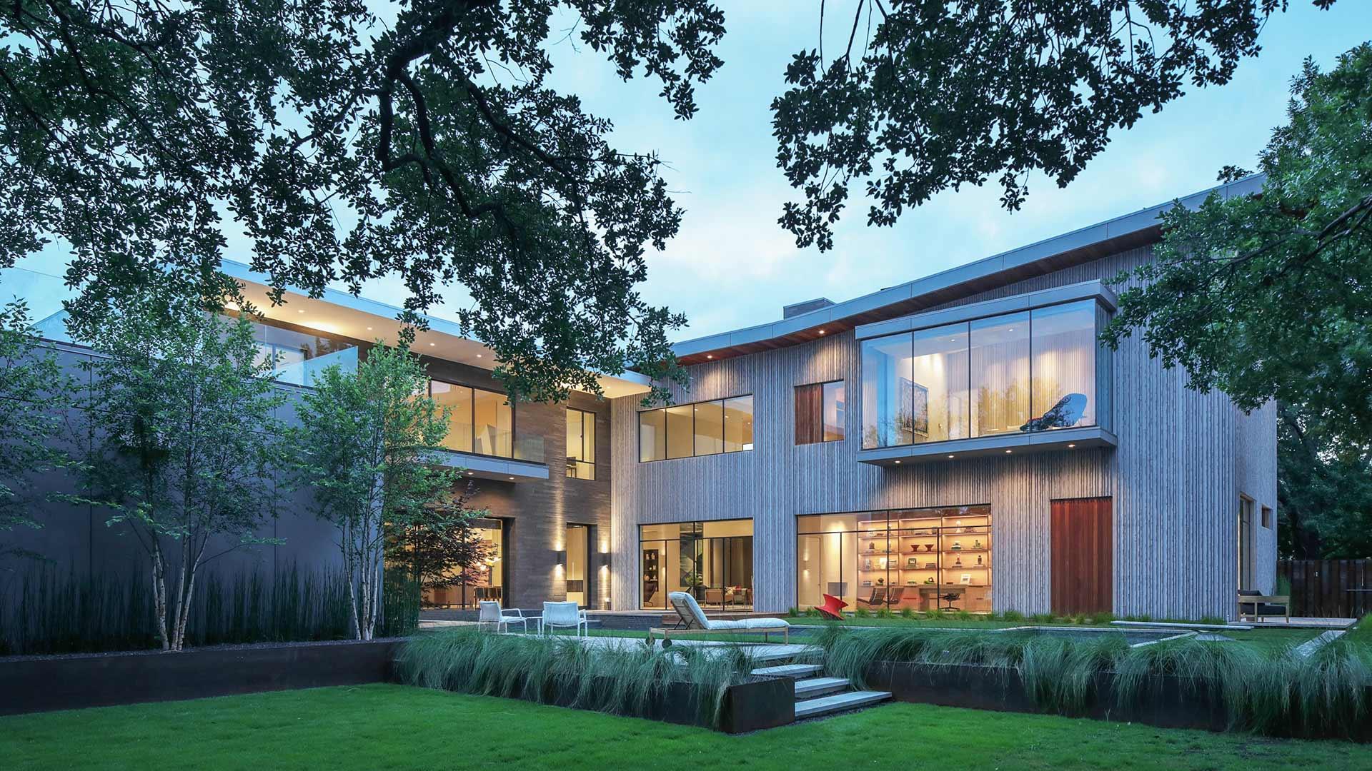 Beautiful house with glass windows