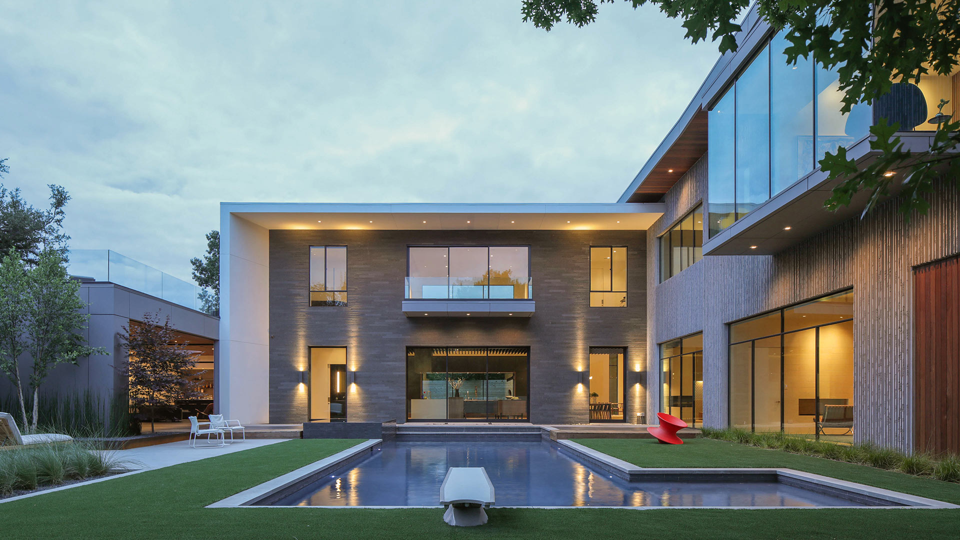 Beautiful house with glass windows and pool