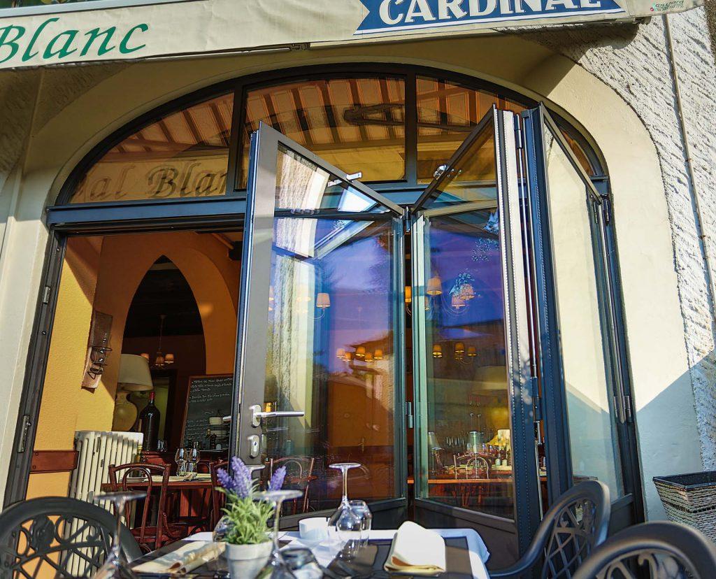 MHB folding door with UV glass at the restaurant cheval blanc Geneva, Switzerland