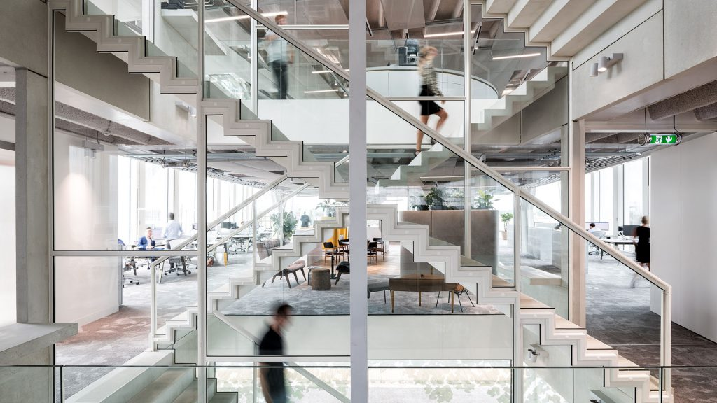 A building with glass walls indoors