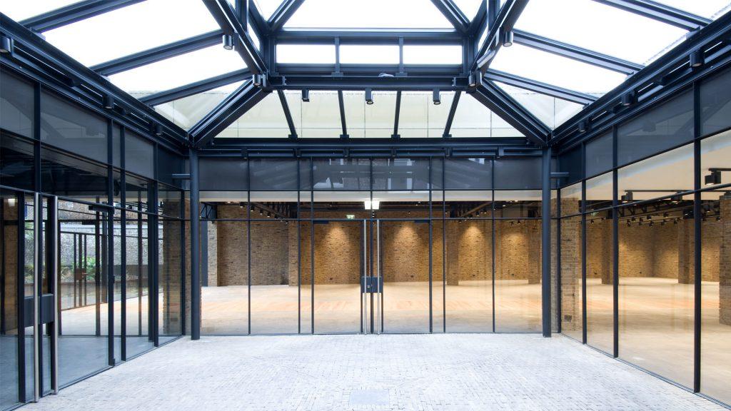 Steel glass windows in an office building in Bredestraat, Maastricht, the Netherlands