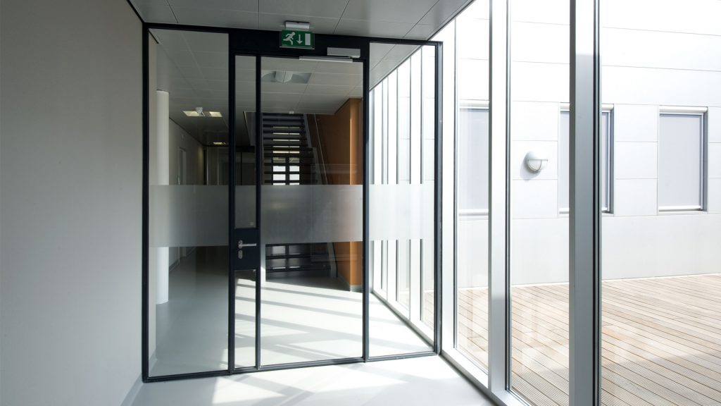 Glazed screens at the forensic department in Elst, the Netherlands