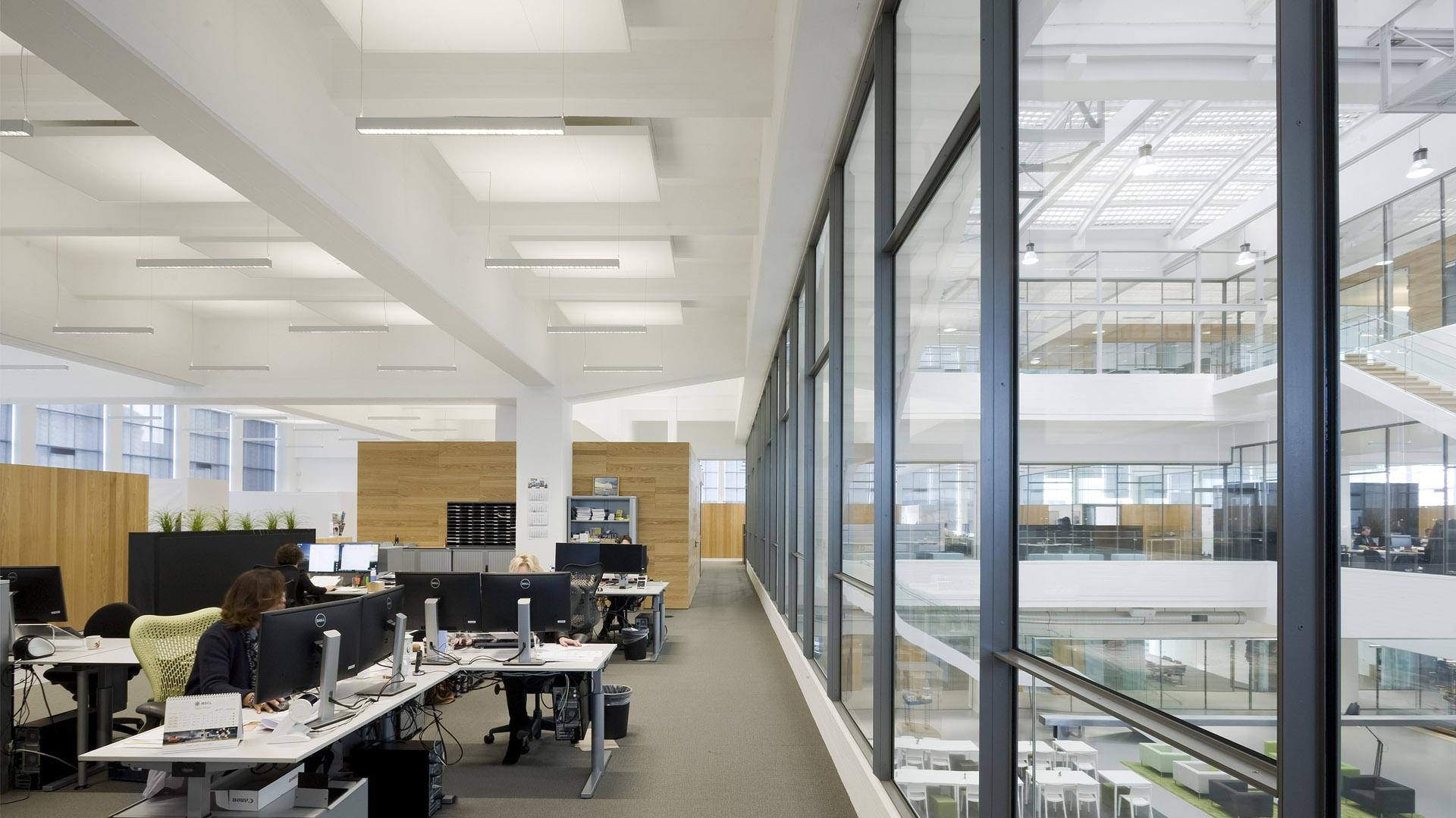 Steel glazed indoor windows in the office