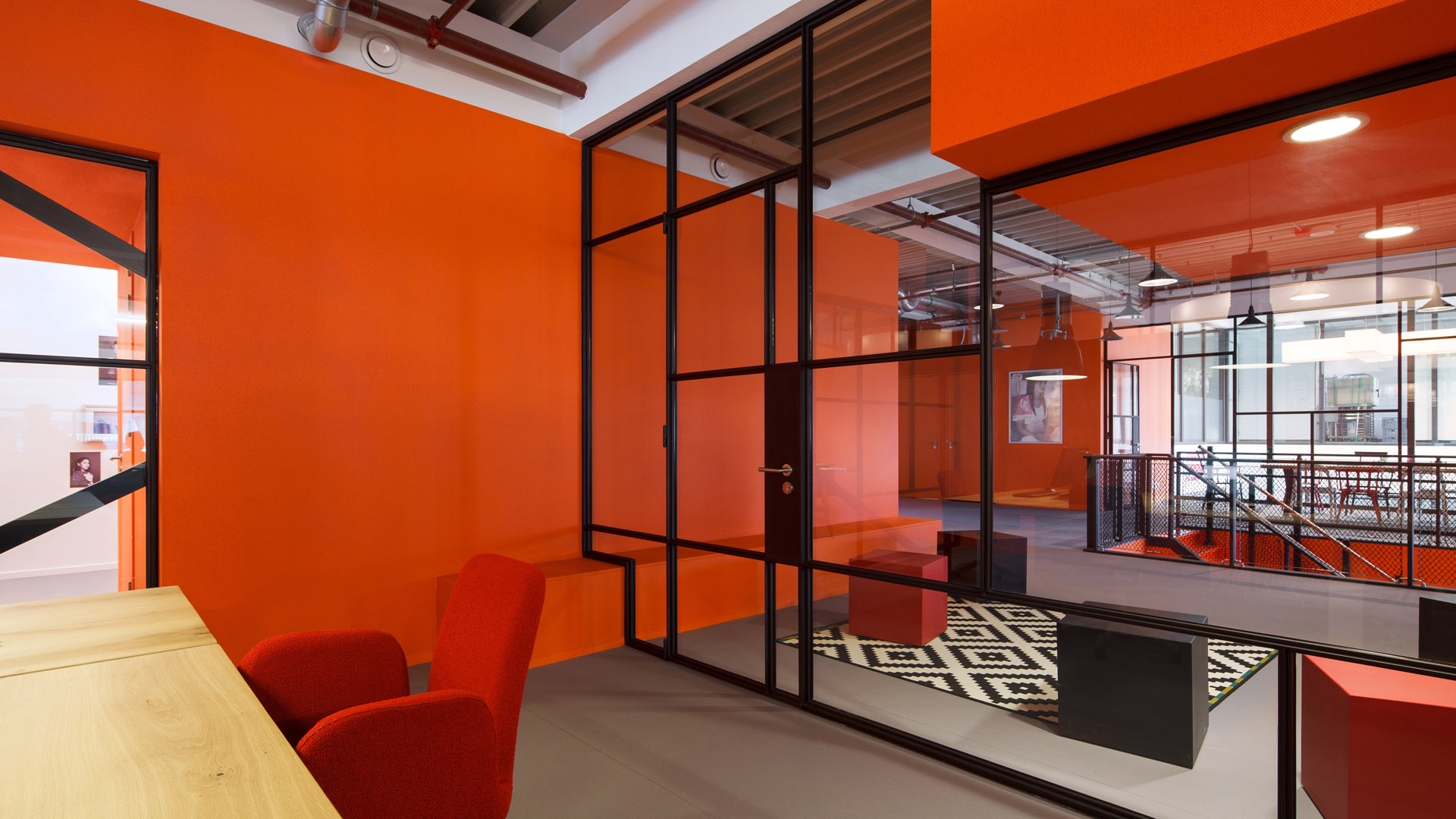 A stylish glass door in the JIP office, Amsterdam, The Netherlands