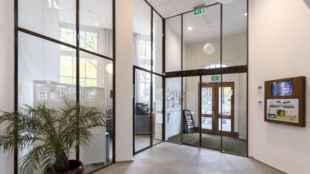 Steel glazed indoor doors in the potgieterschool, Amsterdam, the Netherlands