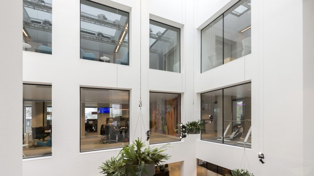Steel glazed walls in the Rabobank office building in Geldrop the Netherlands