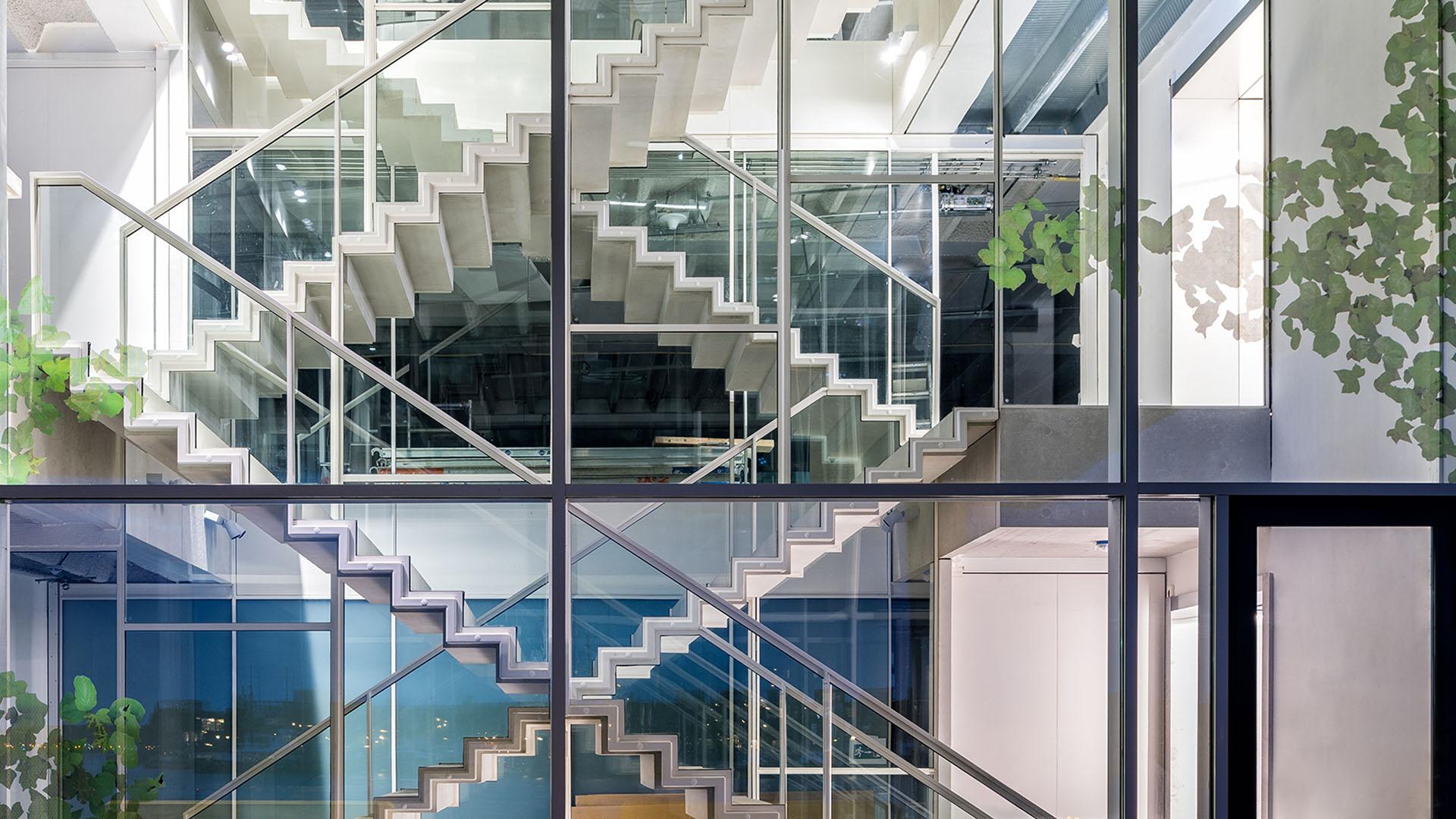 Glazed steel windows indoors