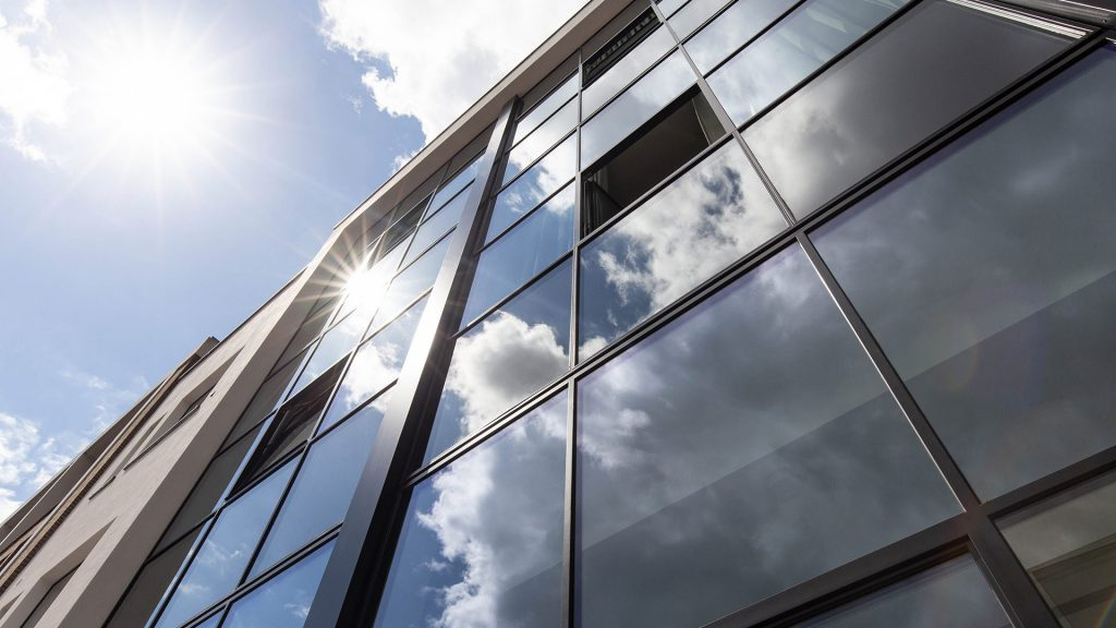 The steel facade of an office building with MHB profile systems in Utrecht the Netherlands