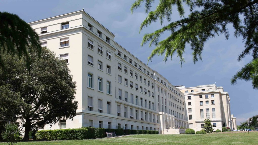 Palais des nations main building with steel windows