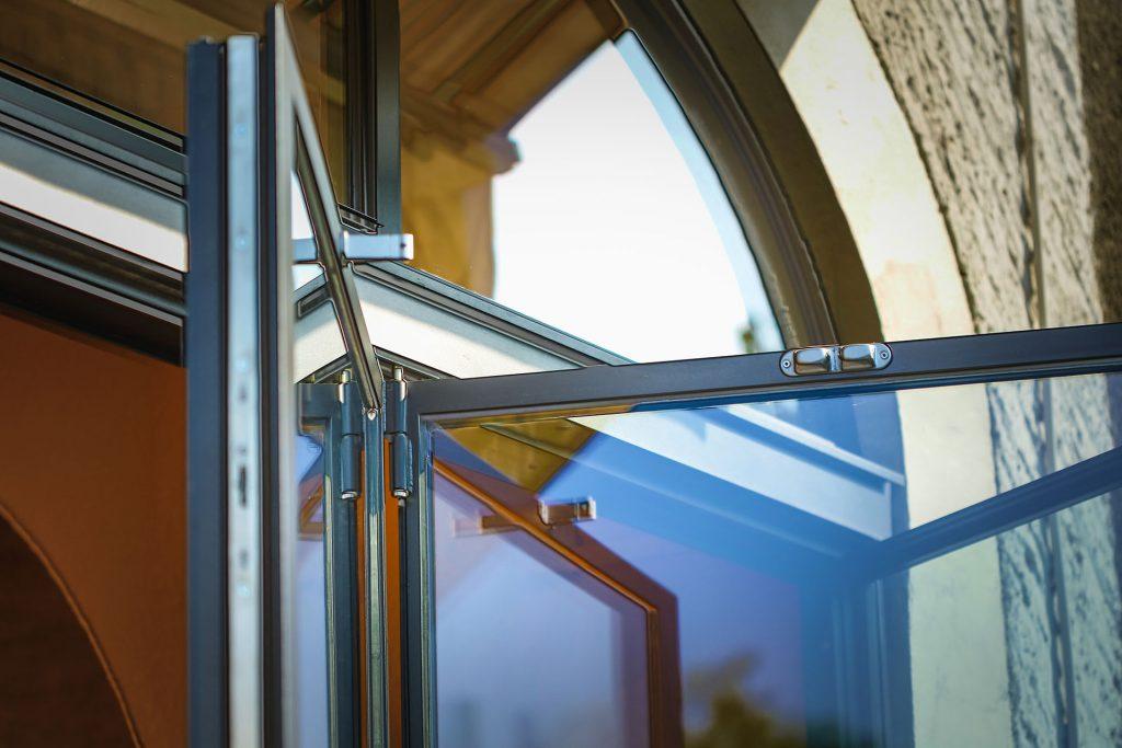 Partial MHB folding door with UV glass at the restaurant cheval blanc Geneva, Switzerland