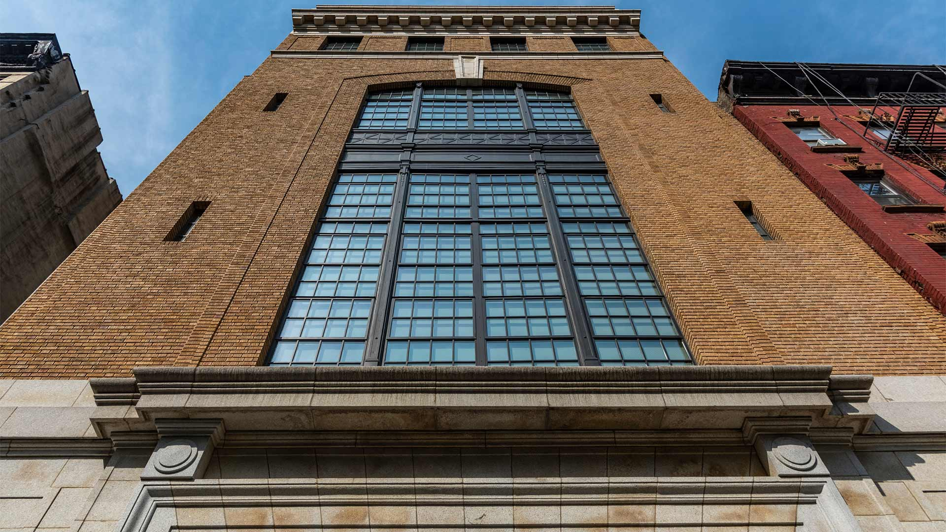 Big steel glazed windows outdoors