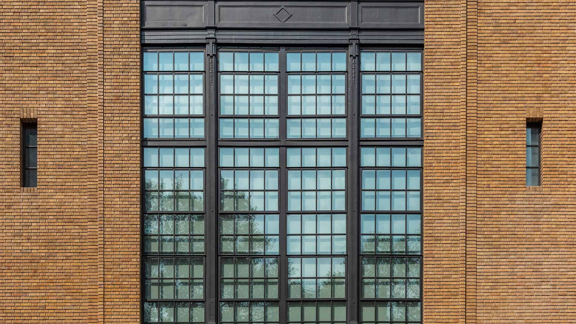 A building with steel glass windows