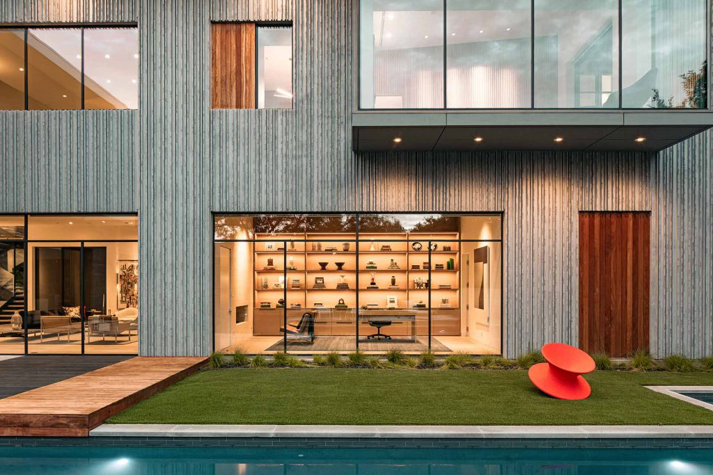 The interior of Taula House in USA with MHB steel windows