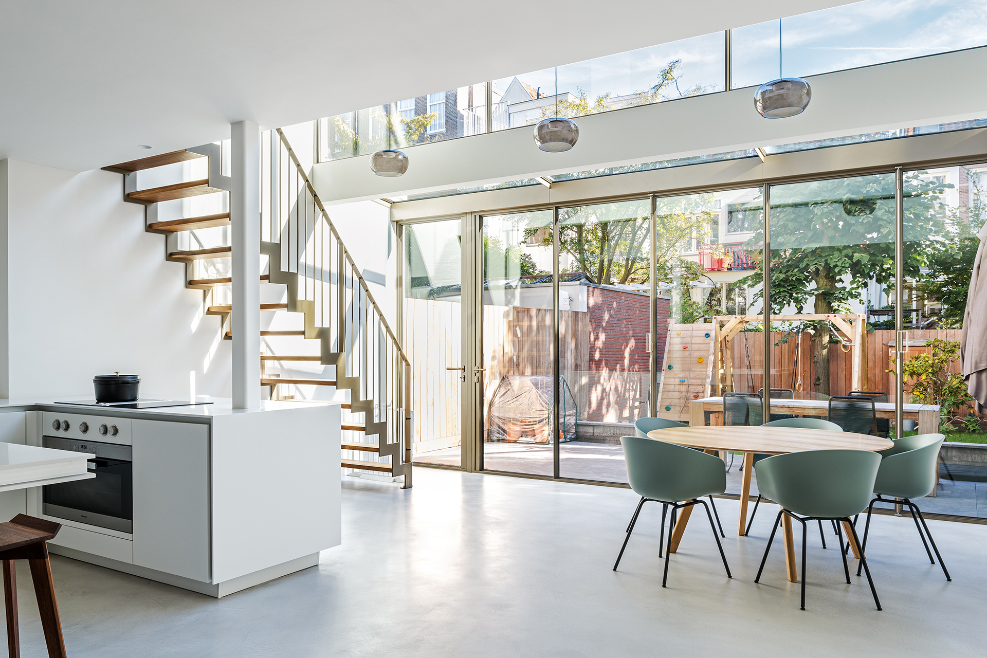 The interior with MHB folding doors of a residence in Amsterdam, the Netherlands