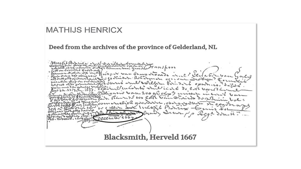 Deed from 1667 of the local archives in Gelderland, the Netherlands