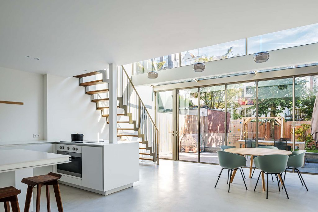 A steel folding door interior for a renovated building in south of Amsterdam, the Netherlands